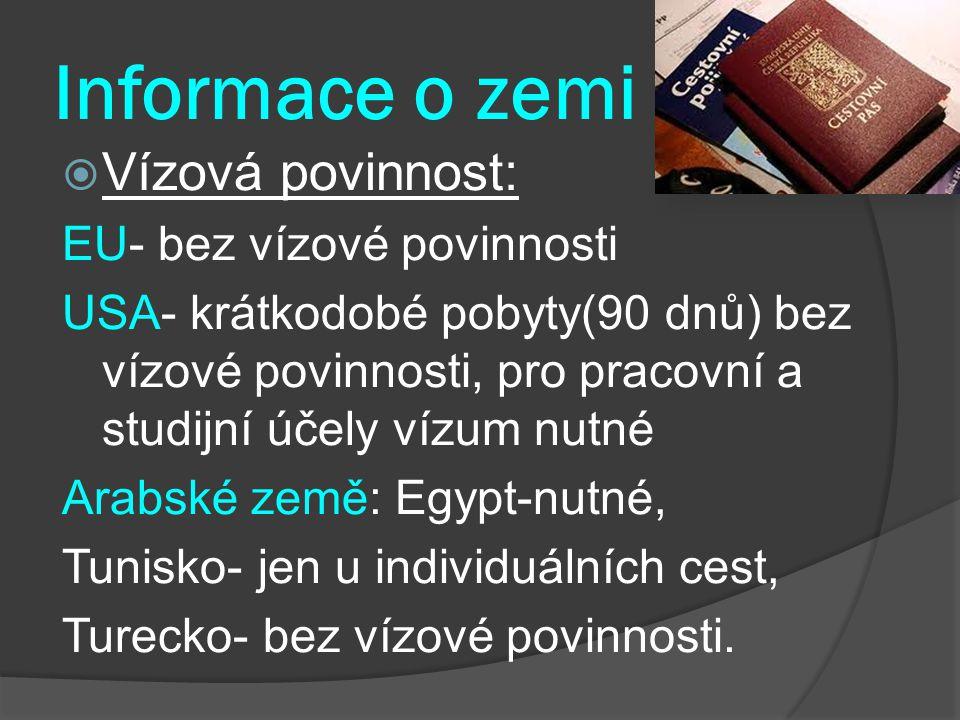 Informace o zemi Vízová povinnost: EU- bez vízové povinnosti