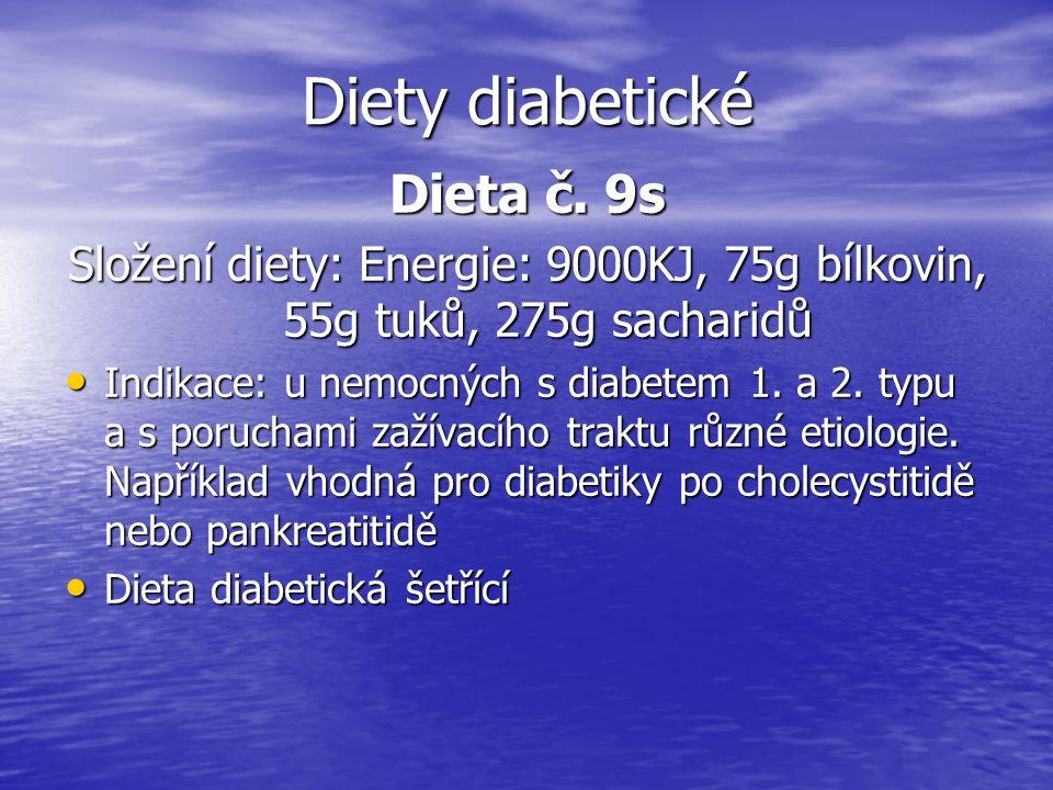 Složení diety: Energie: 9000KJ, 75g bílkovin, 55g tuků, 275g sacharidů