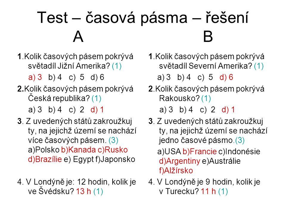Test – časová pásma – řešení A B