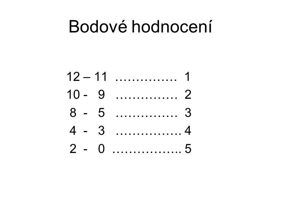 Bodové hodnocení 12 – 11 …………… 1 10 - 9 …………… 2 8 - 5 …………… 3
