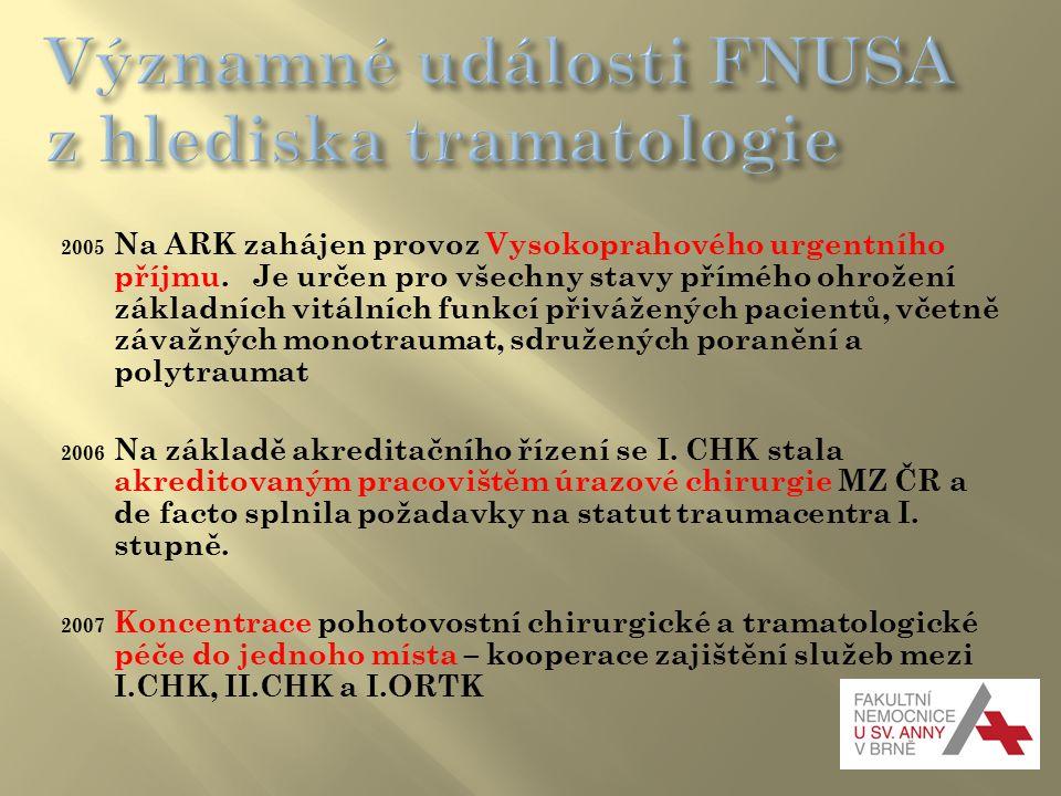 Významné události FNUSA z hlediska tramatologie