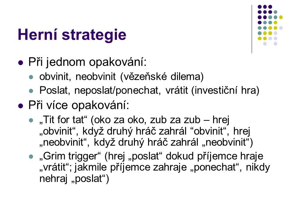 Herní strategie Při jednom opakování: Při více opakování: