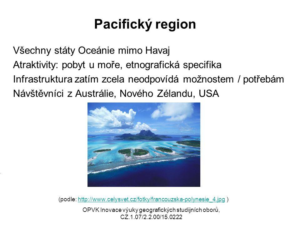 Pacifický region Všechny státy Oceánie mimo Havaj