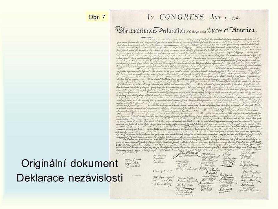 Originální dokument Deklarace nezávislosti