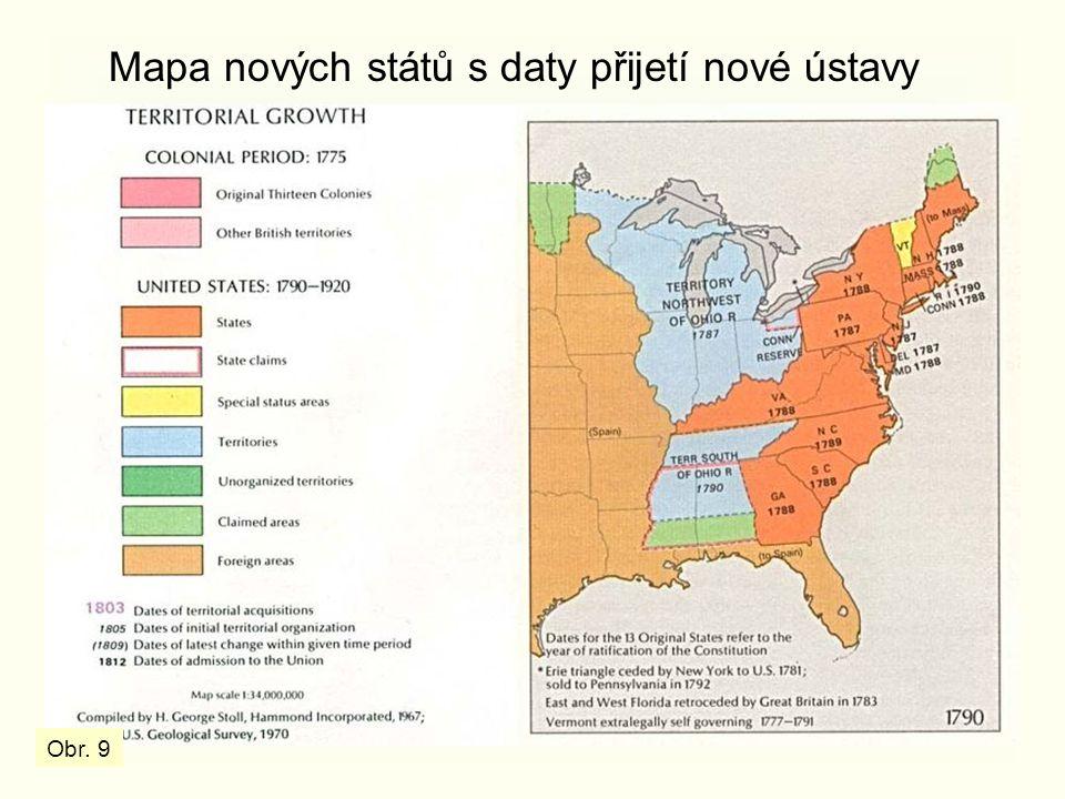Mapa nových států s daty přijetí nové ústavy