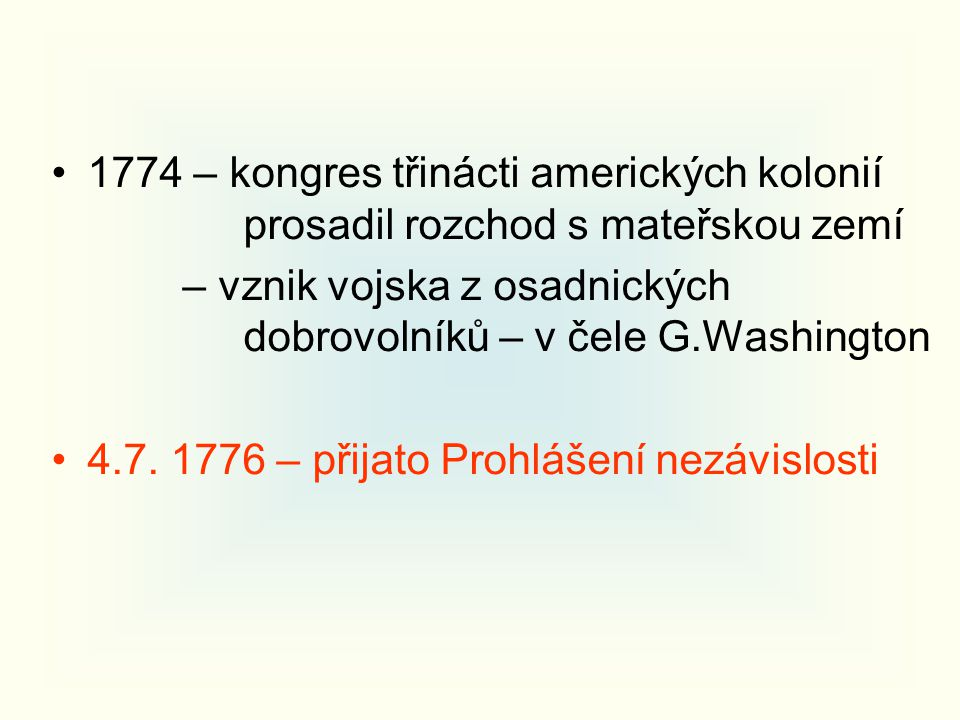1774 – kongres třinácti amerických kolonií