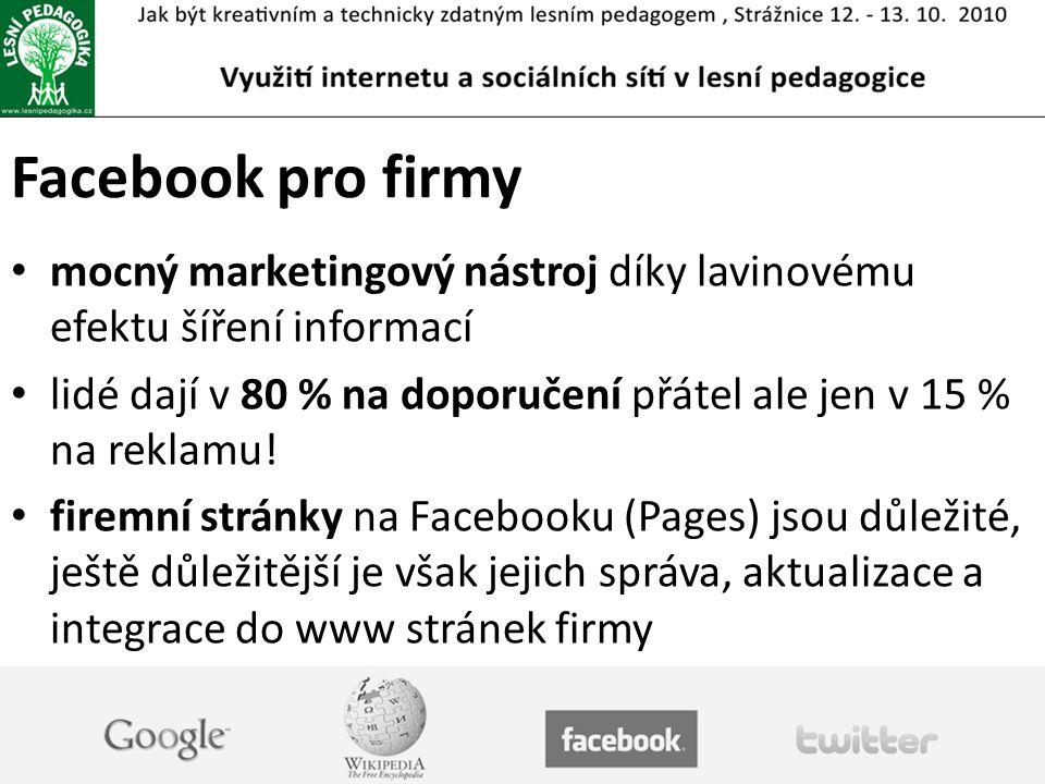 Facebook pro firmy mocný marketingový nástroj díky lavinovému efektu šíření informací.