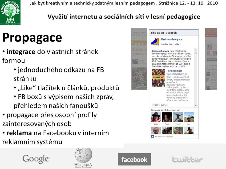 Propagace integrace do vlastních stránek formou