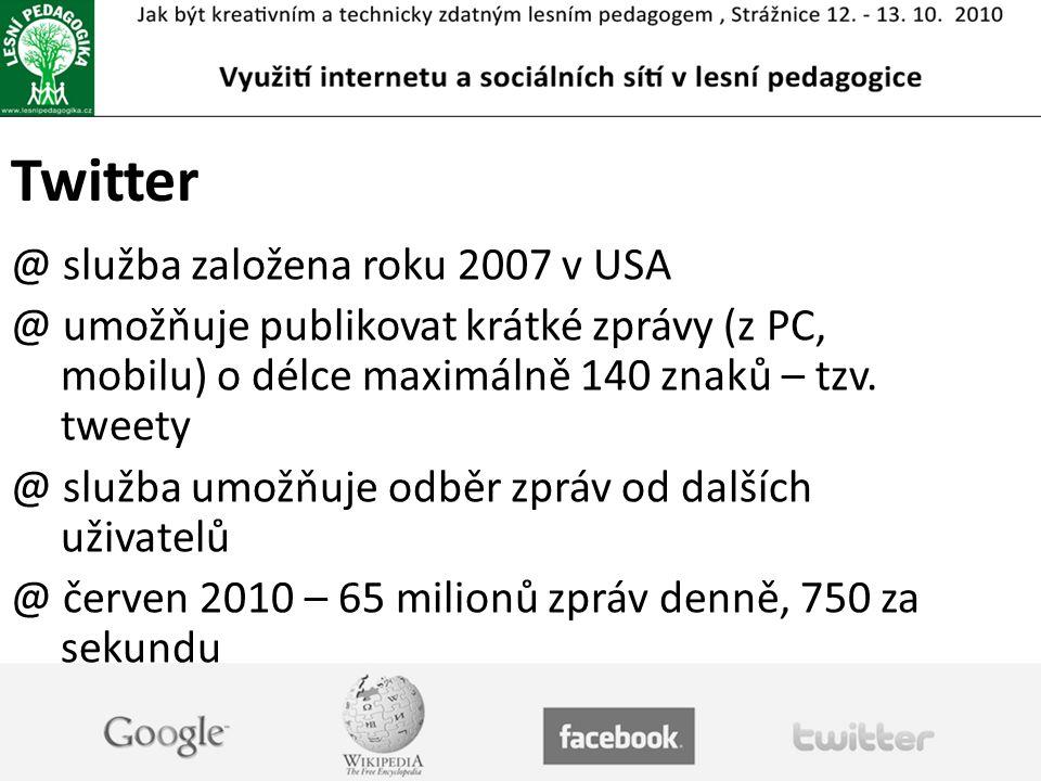 Twitter služba založena roku 2007 v USA
