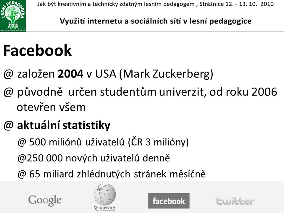 Facebook založen 2004 v USA (Mark Zuckerberg)