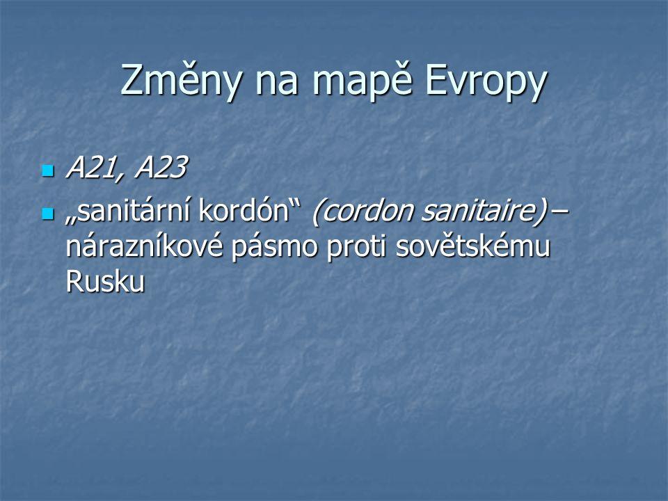 Změny na mapě Evropy A21, A23.