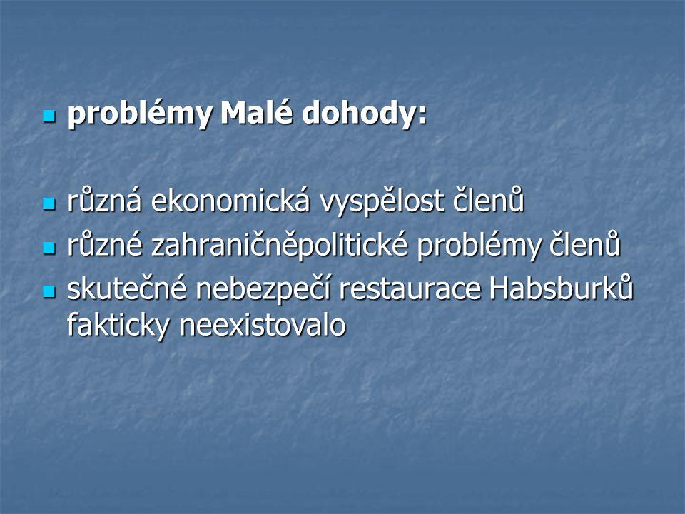 problémy Malé dohody: různá ekonomická vyspělost členů. různé zahraničněpolitické problémy členů.