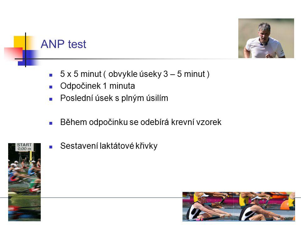 ANP test 5 x 5 minut ( obvykle úseky 3 – 5 minut ) Odpočinek 1 minuta