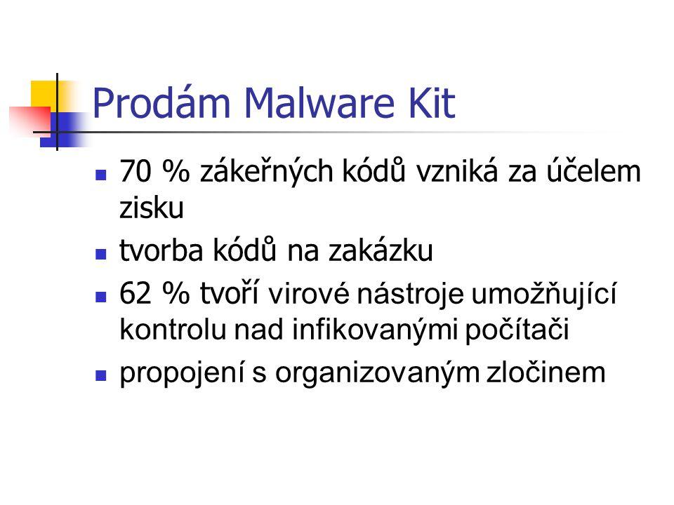 Prodám Malware Kit 70 % zákeřných kódů vzniká za účelem zisku