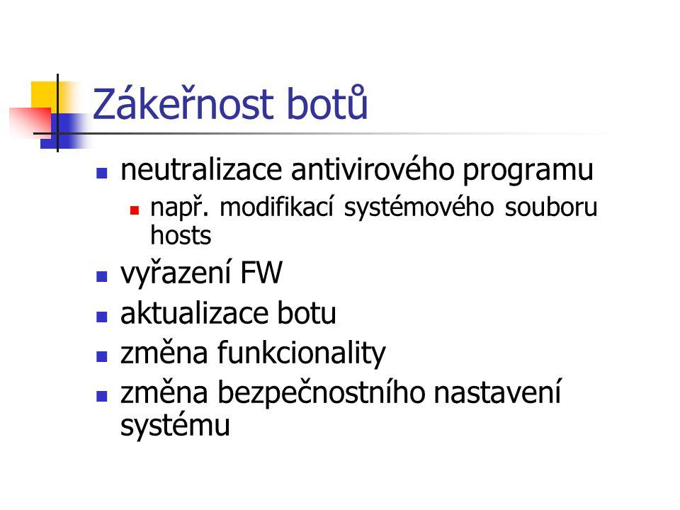 Zákeřnost botů neutralizace antivirového programu vyřazení FW