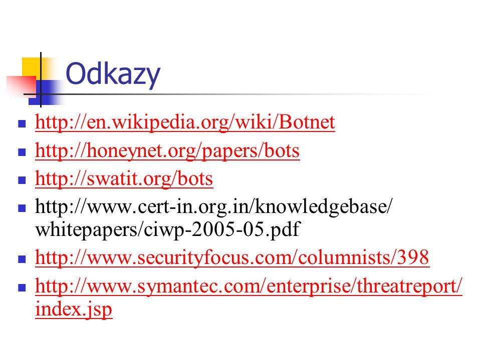 Odkazy http://en.wikipedia.org/wiki/Botnet