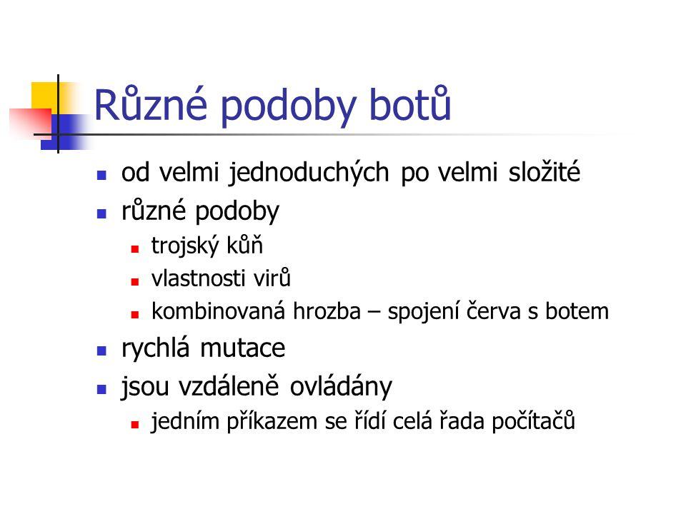Různé podoby botů od velmi jednoduchých po velmi složité různé podoby