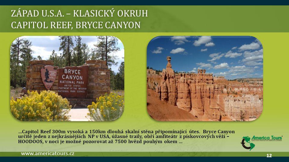 ZÁPAD U.S.A. – klasický okruh Capitol reef, bryce canyon