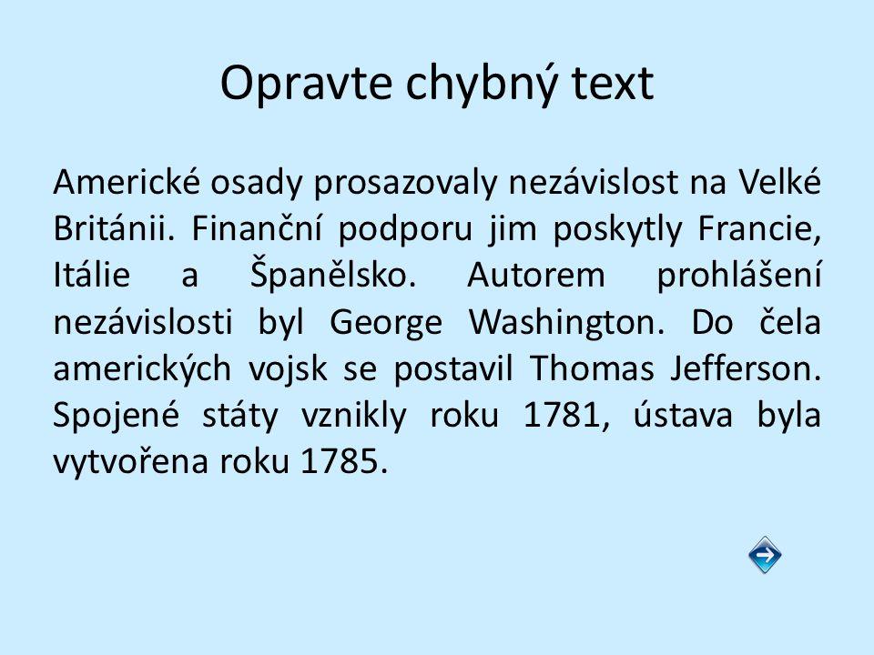 Opravte chybný text