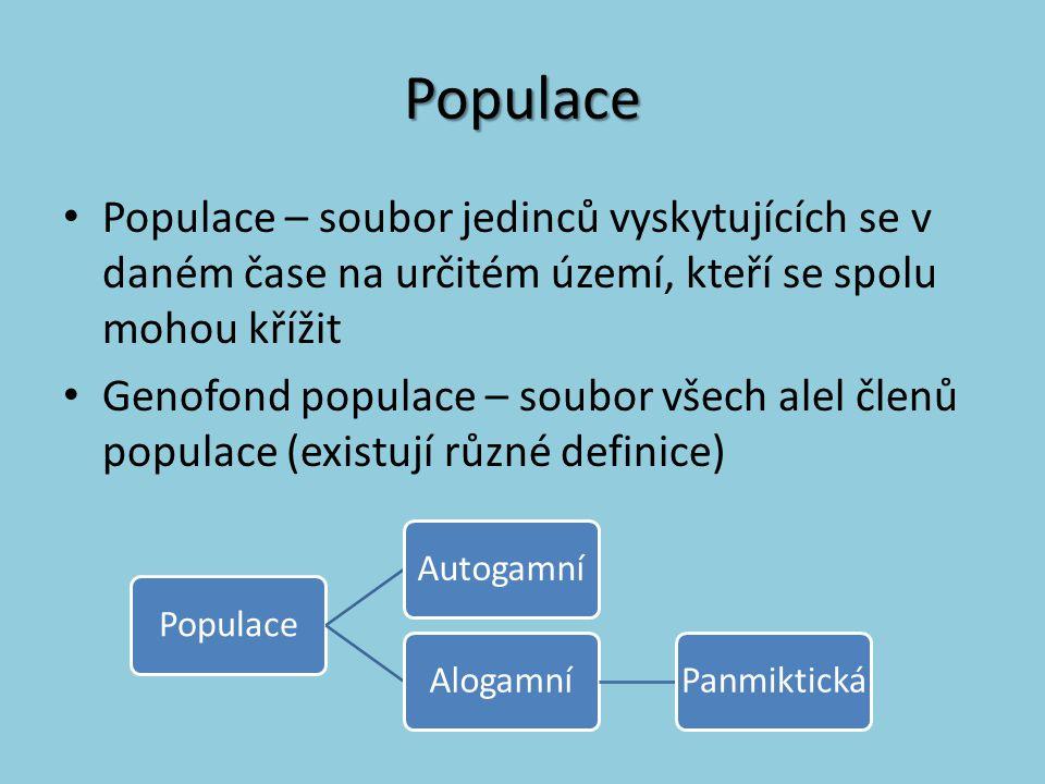 Populace Populace – soubor jedinců vyskytujících se v daném čase na určitém území, kteří se spolu mohou křížit.
