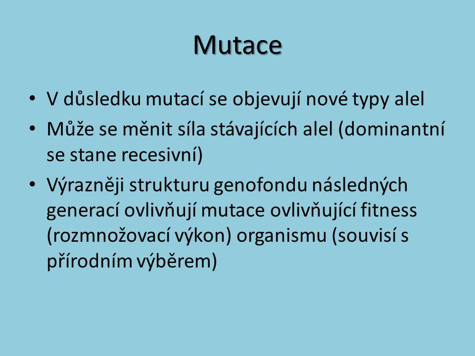 Mutace V důsledku mutací se objevují nové typy alel