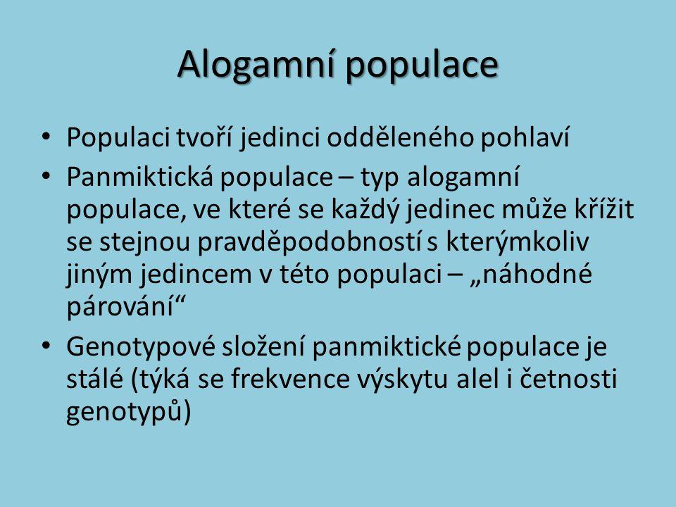 Alogamní populace Populaci tvoří jedinci odděleného pohlaví
