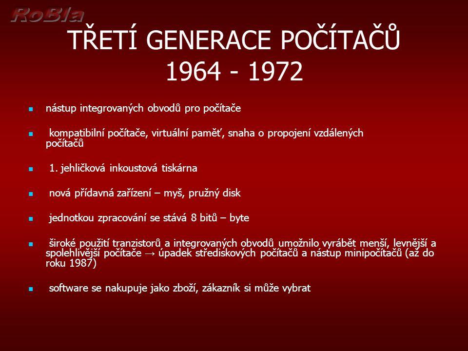 TŘETÍ GENERACE POČÍTAČŮ 1964 - 1972