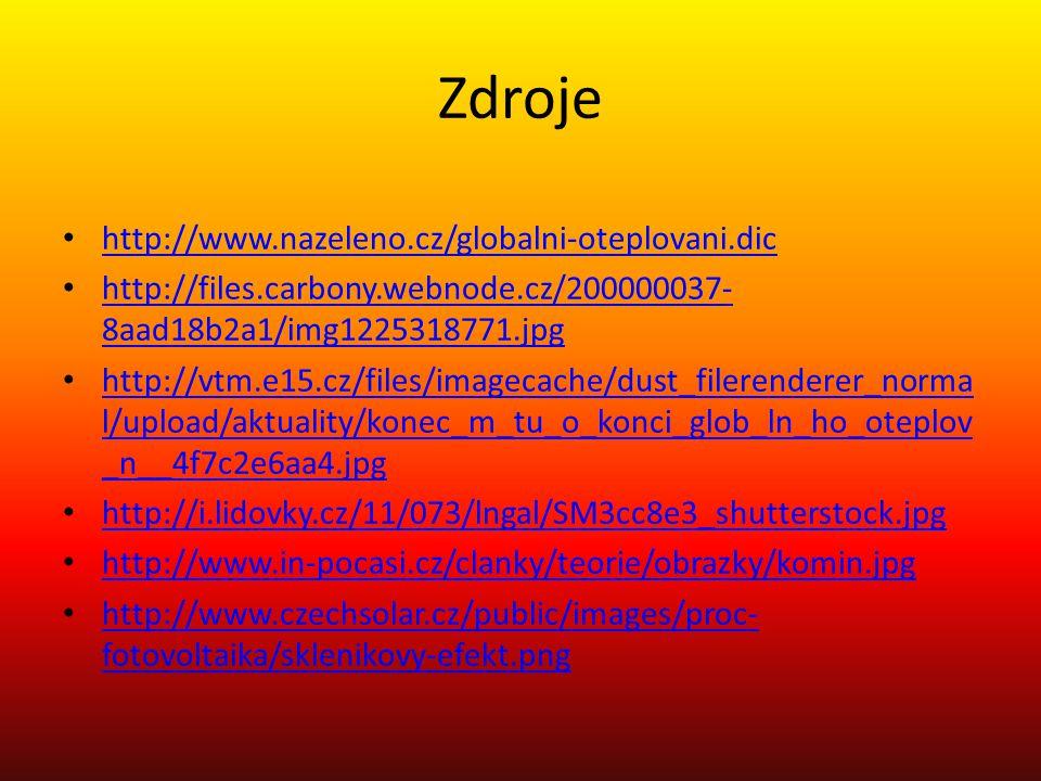 Zdroje http://www.nazeleno.cz/globalni-oteplovani.dic