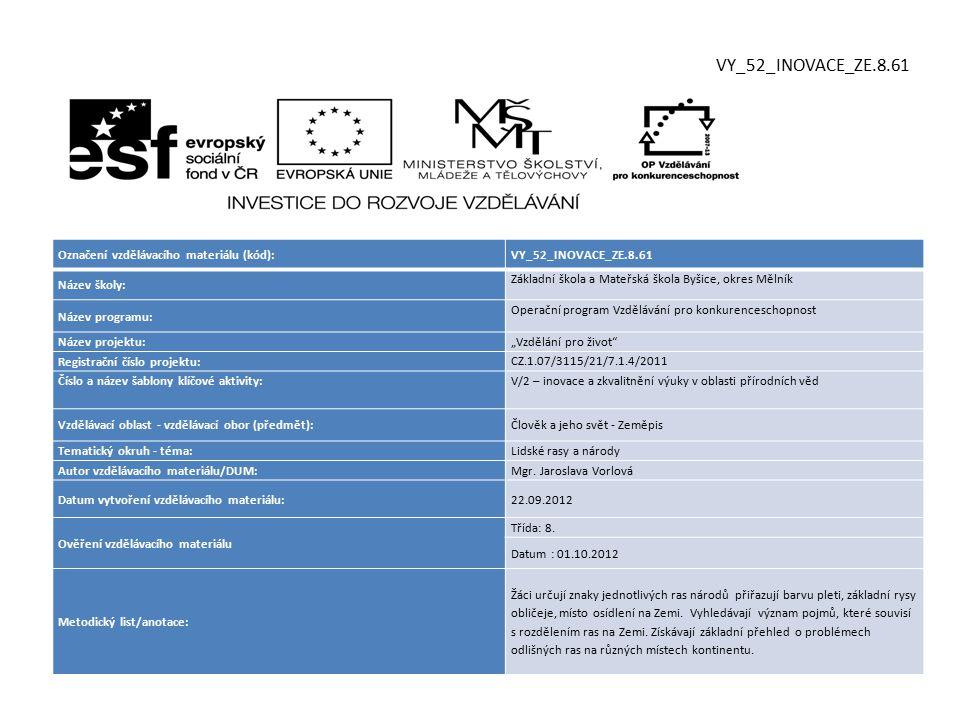 VY_52_INOVACE_ZE.8.61 Označení vzdělávacího materiálu (kód):