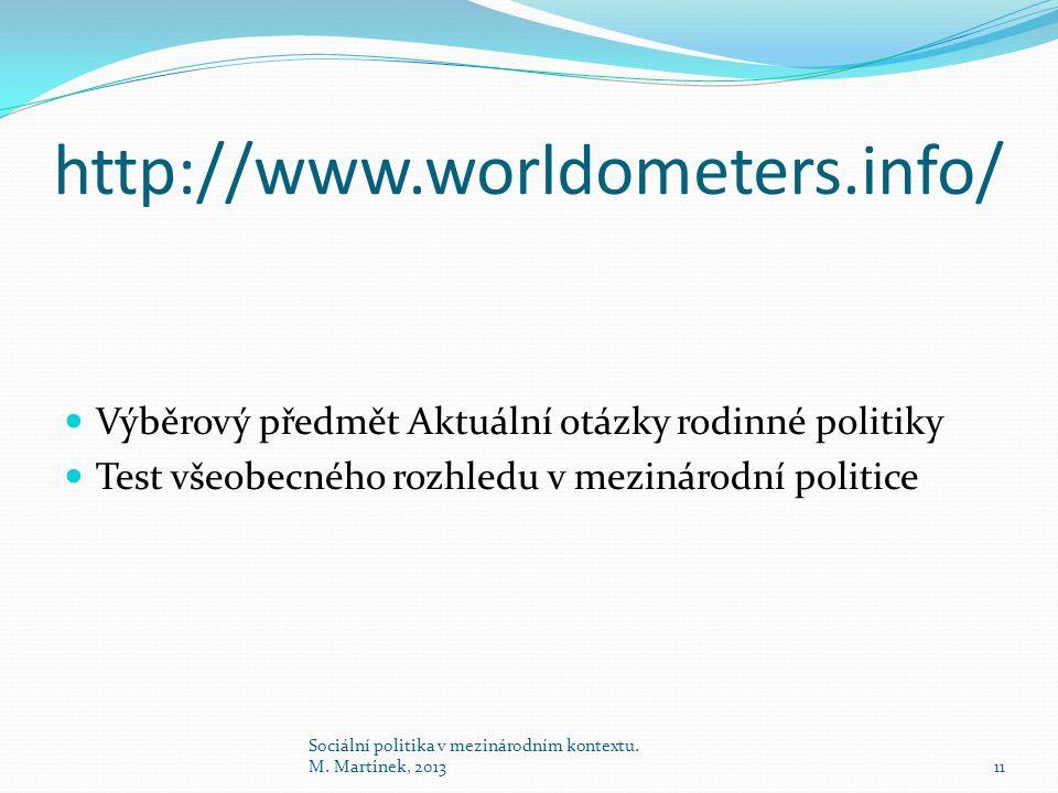 http://www.worldometers.info/ Výběrový předmět Aktuální otázky rodinné politiky. Test všeobecného rozhledu v mezinárodní politice.