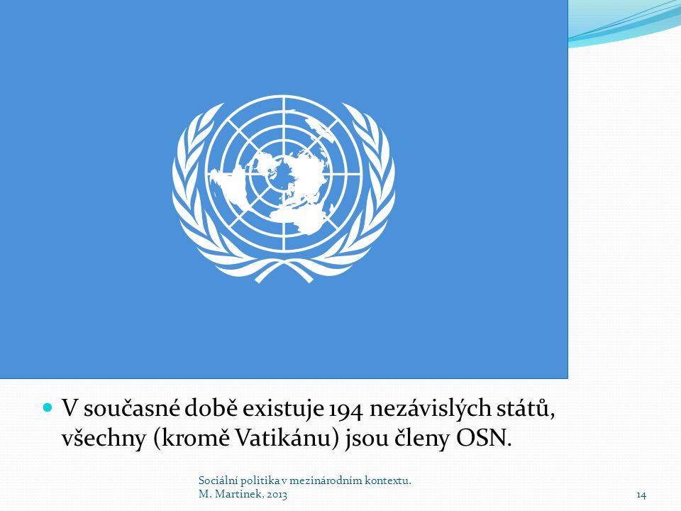 V současné době existuje 194 nezávislých států, všechny (kromě Vatikánu) jsou členy OSN.