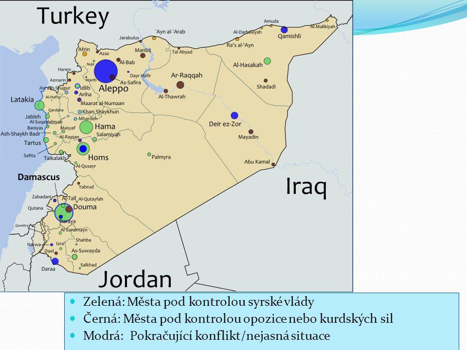 Zelená: Města pod kontrolou syrské vlády