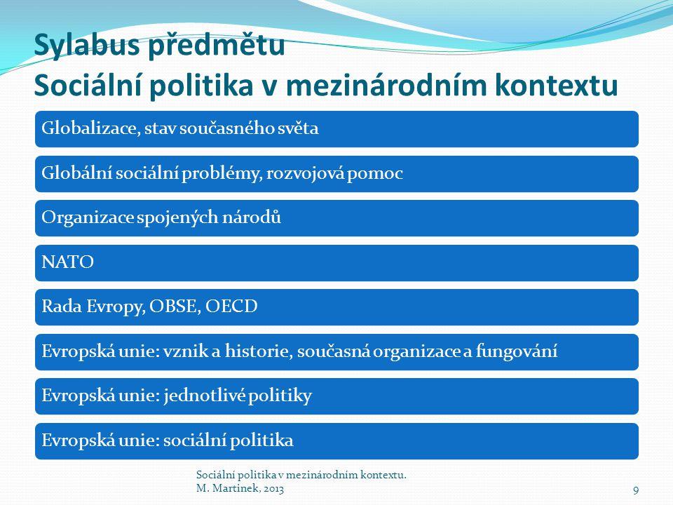 Sylabus předmětu Sociální politika v mezinárodním kontextu
