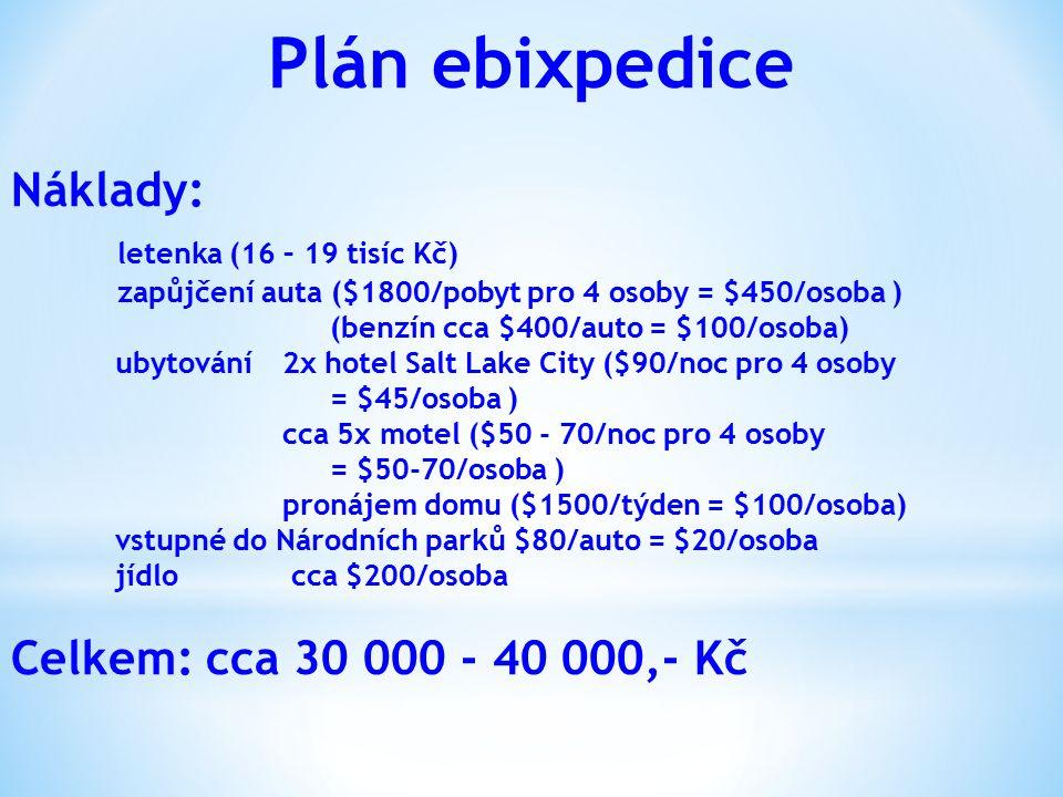 Plán ebixpedice Náklady: letenka (16 – 19 tisíc Kč)
