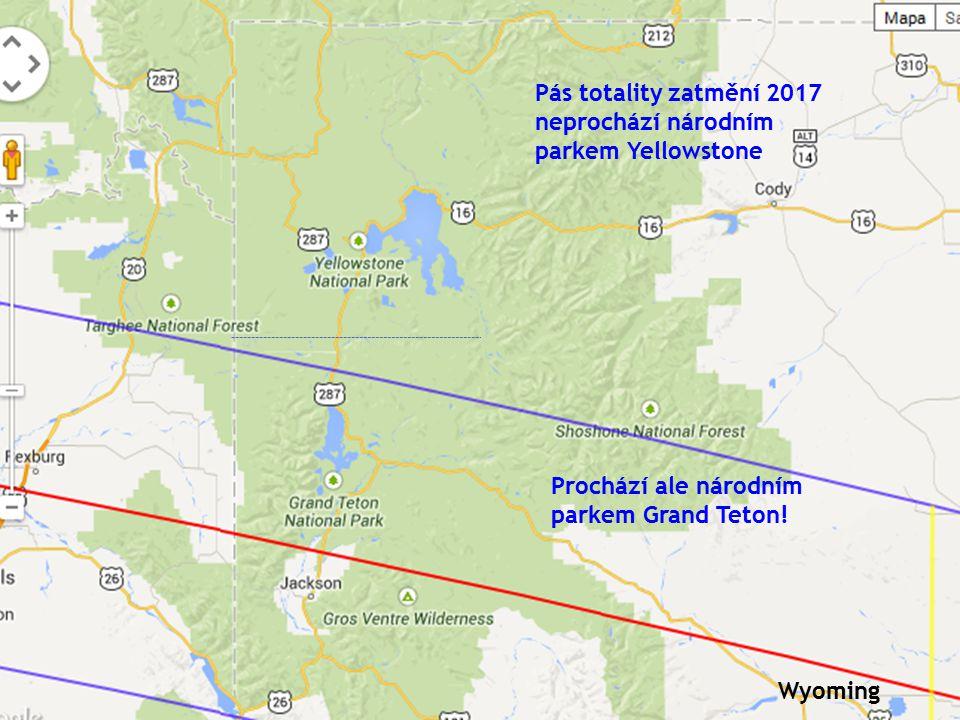 Pás totality zatmění 2017 neprochází národním parkem Yellowstone