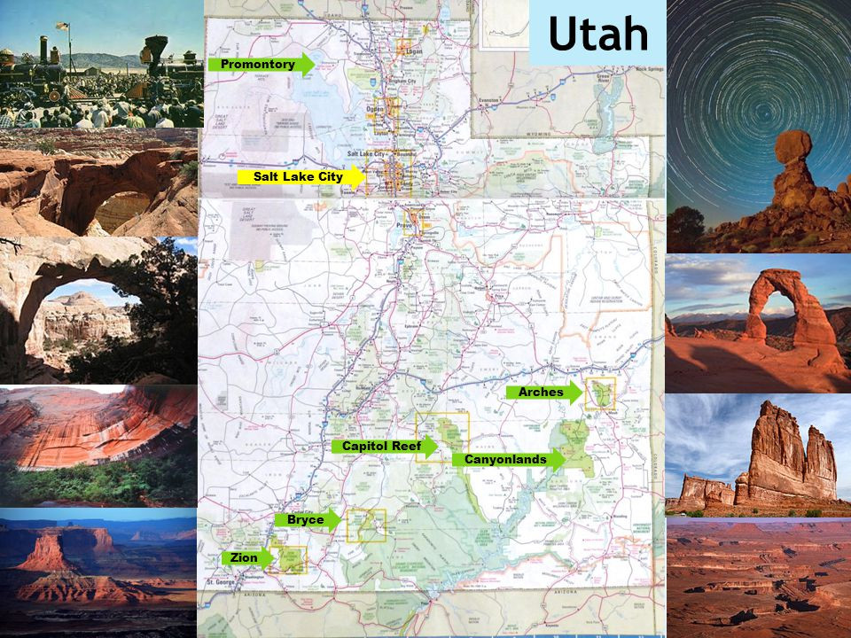 Utah Promontory Salt Lake City Arches Capitol Reef Canyonlands Bryce