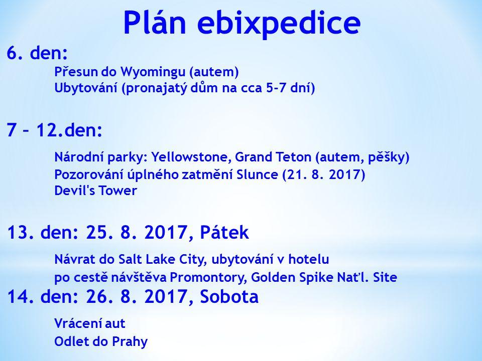 Plán ebixpedice Národní parky: Yellowstone, Grand Teton (autem, pěšky)