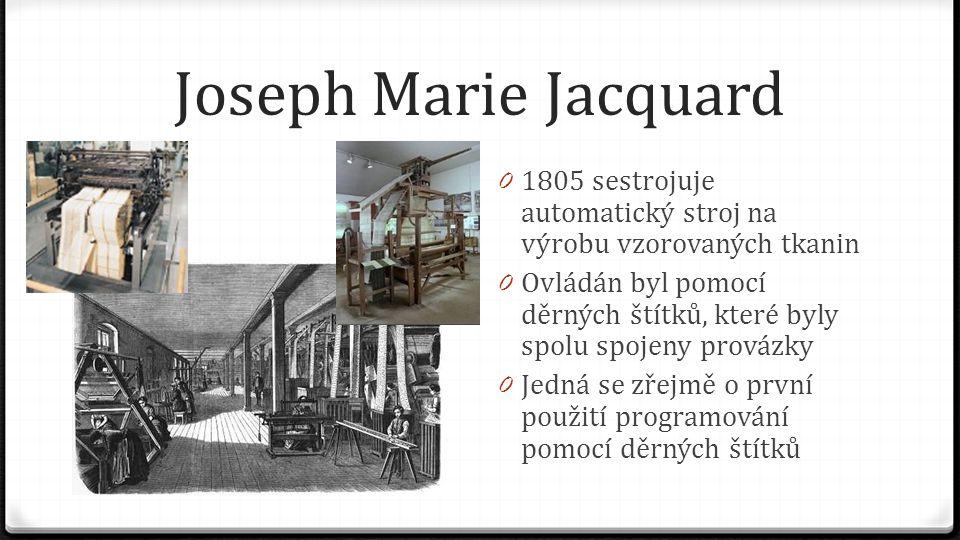 Joseph Marie Jacquard 1805 sestrojuje automatický stroj na výrobu vzorovaných tkanin.