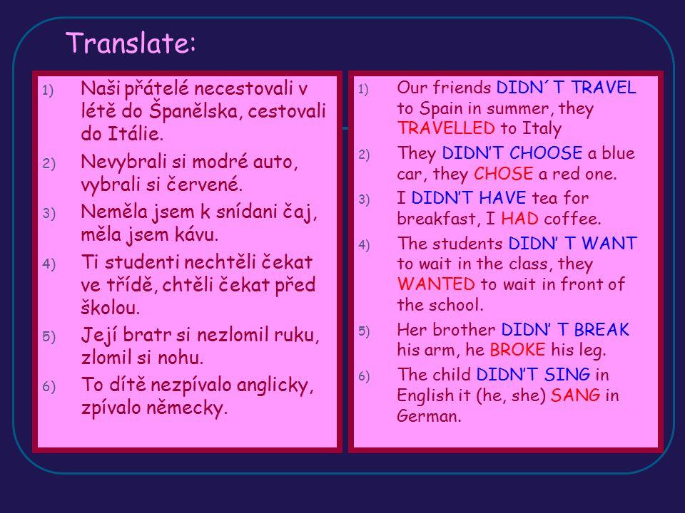 Translate: Naši přátelé necestovali v létě do Španělska, cestovali do Itálie. Nevybrali si modré auto, vybrali si červené.