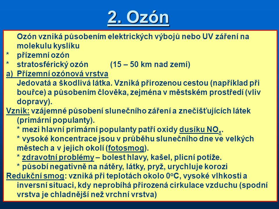 2. Ozón Ozón vzniká působením elektrických výbojů nebo UV záření na molekulu kyslíku. * přízemní ozón.