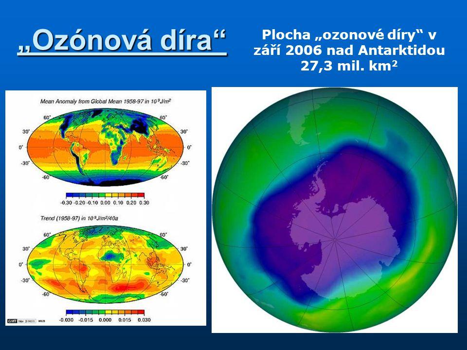 """Plocha """"ozonové díry v září 2006 nad Antarktidou 27,3 mil. km2"""
