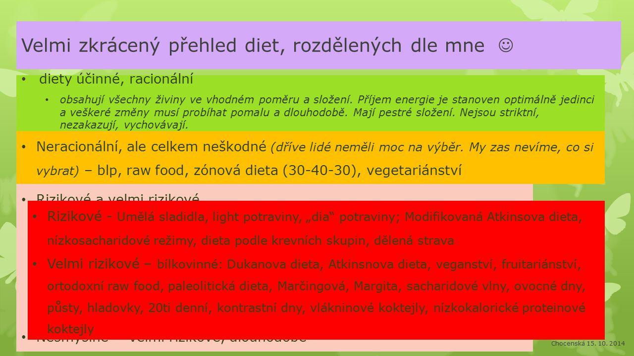 Velmi zkrácený přehled diet, rozdělených dle mne 