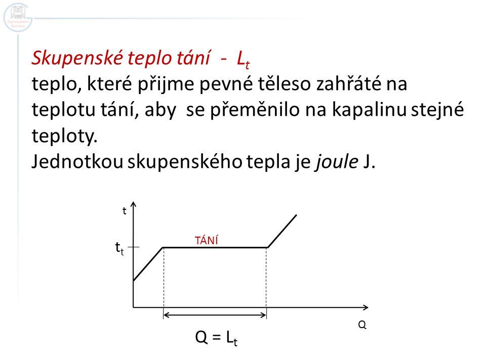 Skupenské teplo tání - Lt