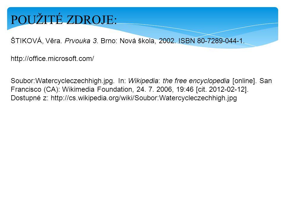 POUŽITÉ ZDROJE: ŠTIKOVÁ, Věra. Prvouka 3. Brno: Nová škola, 2002. ISBN 80-7289-044-1. http://office.microsoft.com/