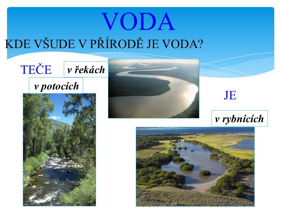 VODA KDE VŠUDE V PŘÍRODĚ JE VODA TEČE JE v řekách v rybnících
