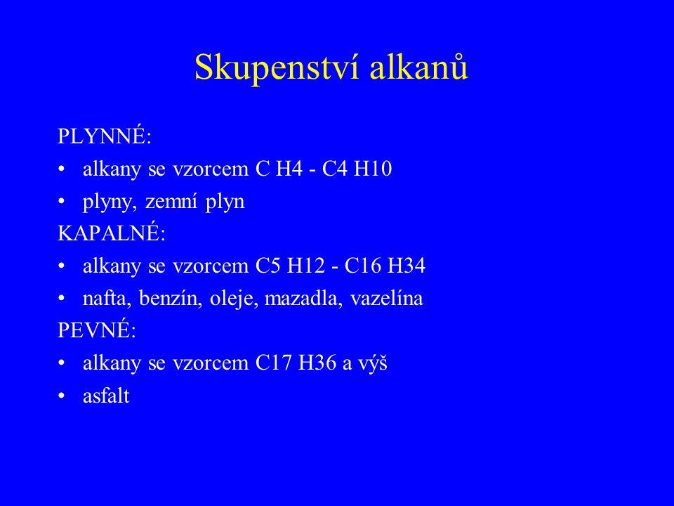 Skupenství alkanů PLYNNÉ: alkany se vzorcem C H4 - C4 H10