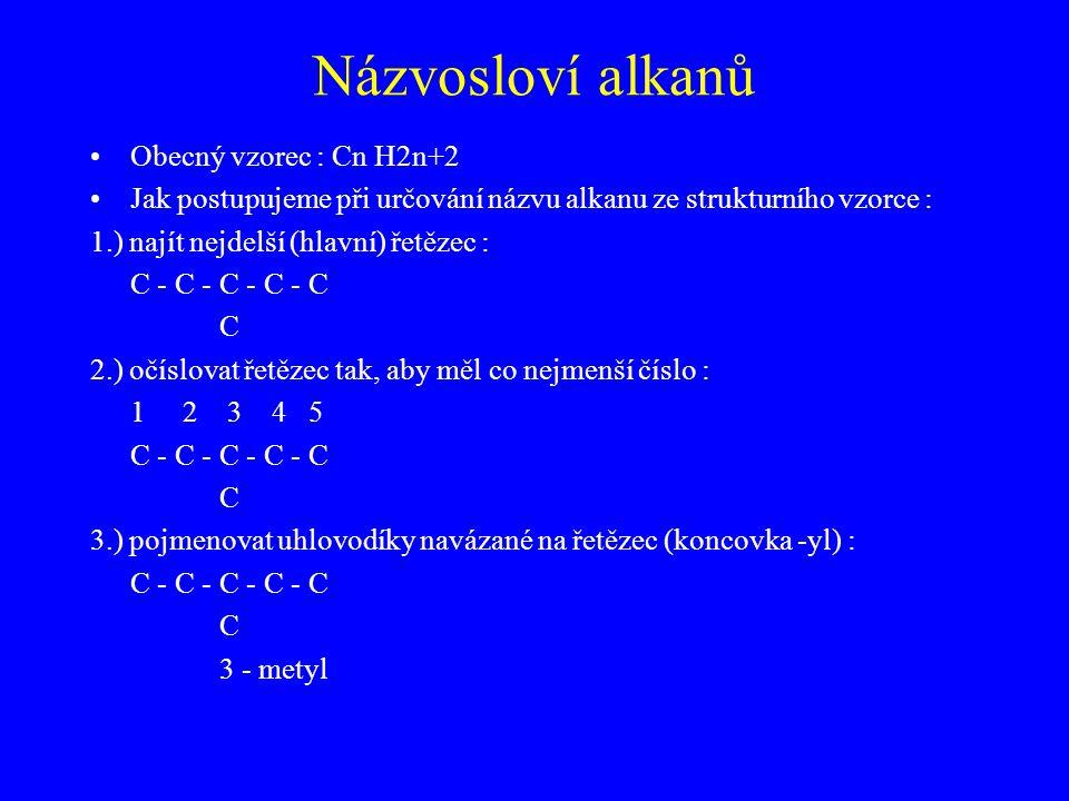 Názvosloví alkanů Obecný vzorec : Cn H2n+2