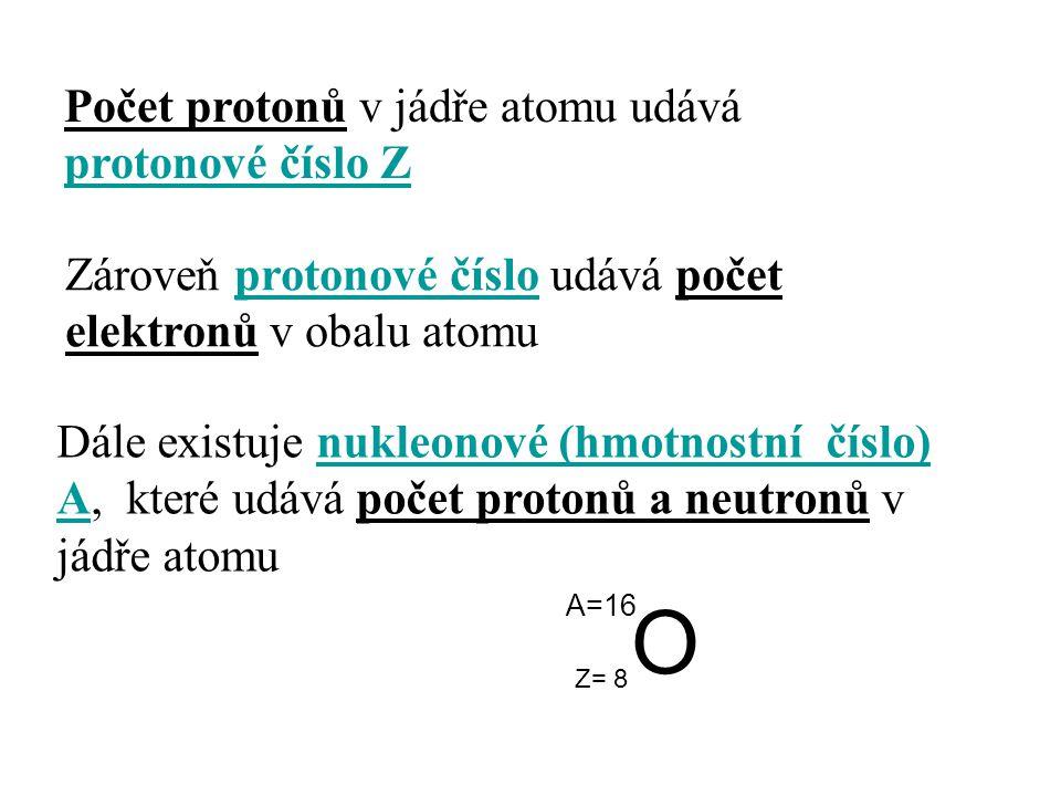O Počet protonů v jádře atomu udává protonové číslo Z