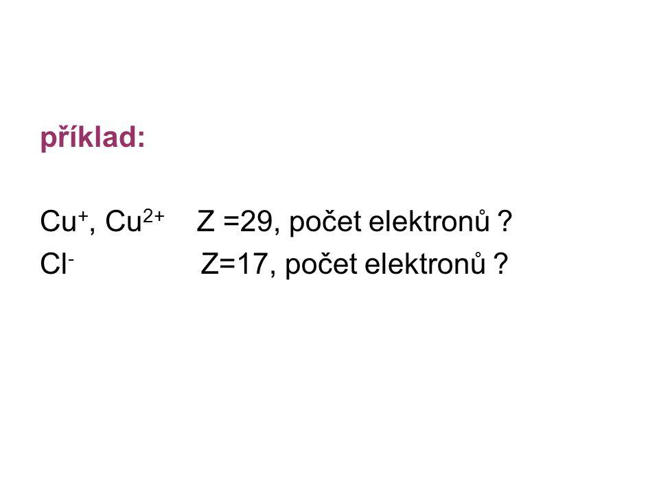 příklad: Cu+, Cu2+ Z =29, počet elektronů Cl- Z=17, počet elektronů
