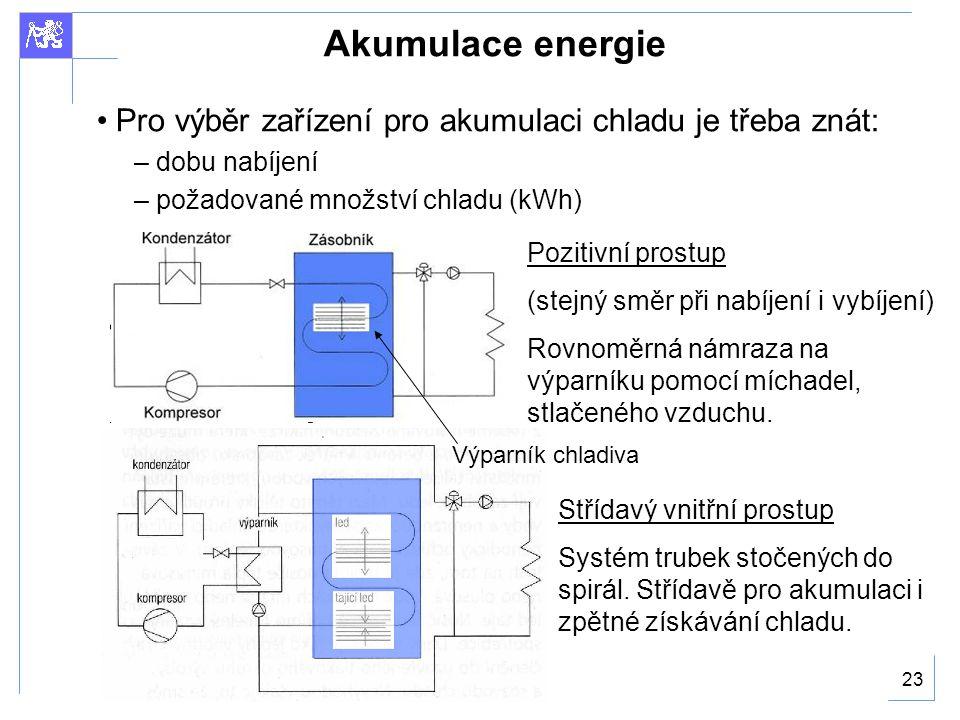 Akumulace energie Pro výběr zařízení pro akumulaci chladu je třeba znát: dobu nabíjení. požadované množství chladu (kWh)